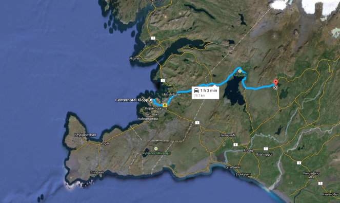 map showing distance from Reykjavik to Laugarvatn HIKING!