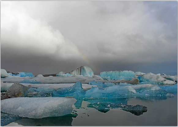 postcard sample- Jokulsarlon rainbow